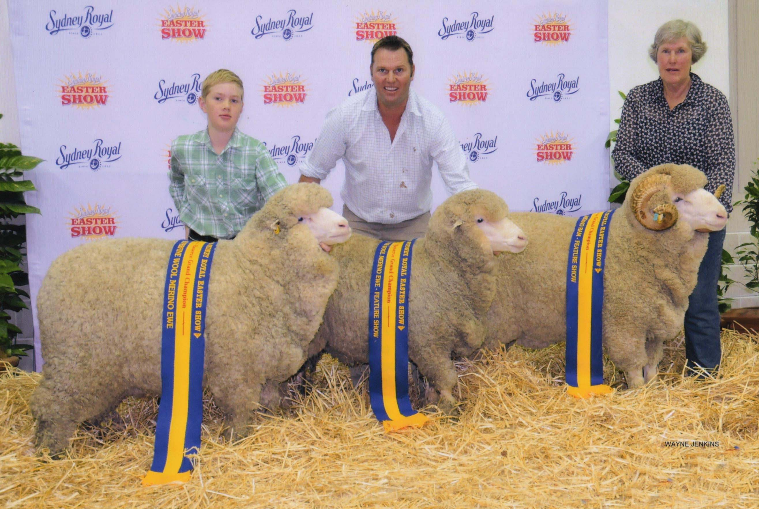 Three generations holding sheep at the Sydney Royal Easter Show in 2015 - Hain, Joe and Alison van Eyk.